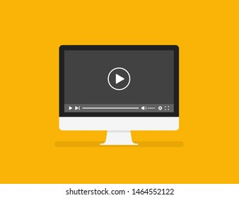 Personal Computer screen in trendy flat style isolated on yellow background with media player. EPS 10