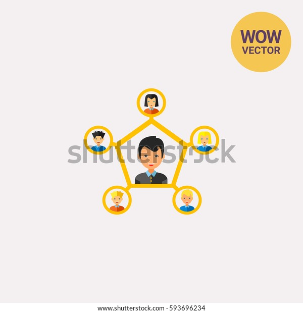 Personal connection flat icon