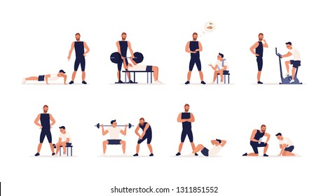 Personal couch or fitness trainer helps man during strength, power or cardio training, weight lifting, gym workout, sports exercise, gives advice on nutrition. Flat cartoon set. Vector illustration.