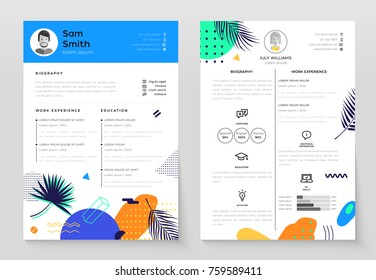 Personal CV- set of modern vector template illustrations on white background with place for text, photo, biography, work experience, education, activities, language. Tropical, exotic theme job resume
