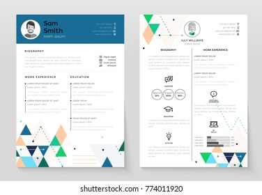 Personal CV- set of modern vector template illustrations on white background with place for text, photo, biography, work experience, education, activities, language. Perfect presentation of job resume