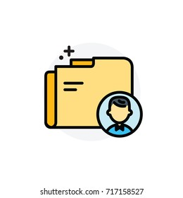 Personal data concept Isolated Line Vector Illustration editable Icon