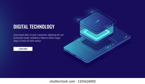 Personal data information storage, smartphone with database icon, accounting of data isometric vector