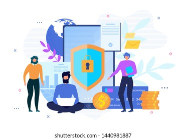 Personal Data Internet Security, Private Account Protection and Safe Financial Transaction. Advertising Poster with People Use Modern Technology Making Online Money Transfer. Vector Flat Illustration