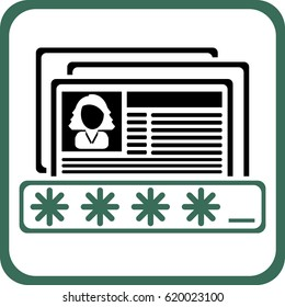 Personal data password protection icon