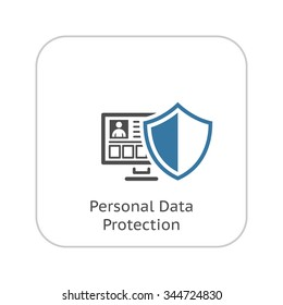 Personal Data Protection Icon.App sign. Ui Symbol. PC with Shield. Flat design. Isolated Illustration.