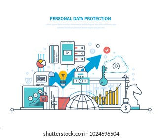 Personal data protection. Preservation and confidentiality of information, database secure, measures to reduce data vulnerability, security information systems. Illustration thin line design.