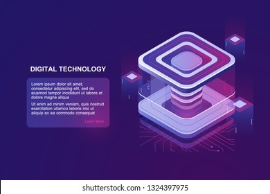 Personal data protection, server room, datacenter concept, bigdata processing isometric vector, futusristic digital technology, computing unit