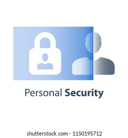 Personal data security concept, limited access, cyber crime prevention, information revelation, person and lock, strong password, privacy policy, general data protection regulation, vector flat icon