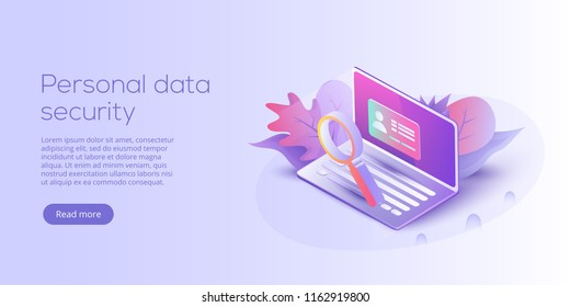 Personal data security isometric vector illustration. Online server id protection system concept. Secure login transaction with password verification via internet.