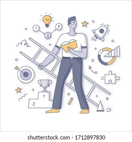 Personal development and career growth concept. An ambitious man with a book and ladder in hands setting personal goals and learn how to achieve them. Doodle vector spot illustration