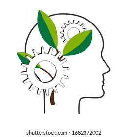Personal development and self improvement vector concept. NLP symbol, Natural Language Processing or mental growth icon. Human head with gears and tree