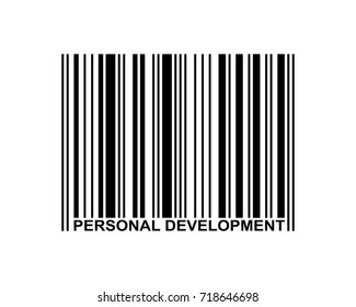 Personal development word and barcode icon