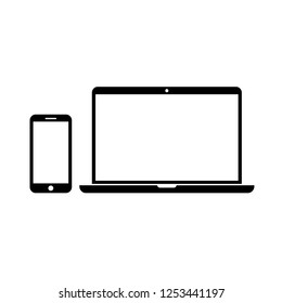 Personal devices with empty screens isolated on white. Smartphone and laptop icons in simple vector style.