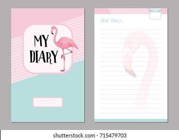 Personal diary template set, with pink flamingo illustration background. Vector design.