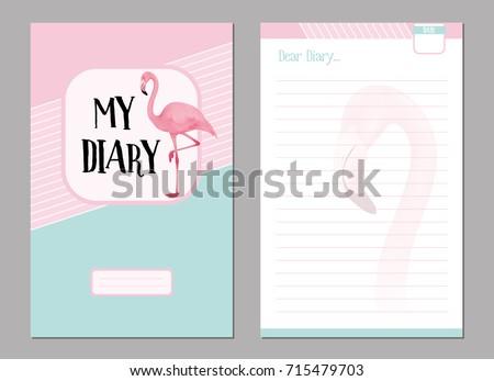 personal diary template set pink flamingo のベクター画像素材