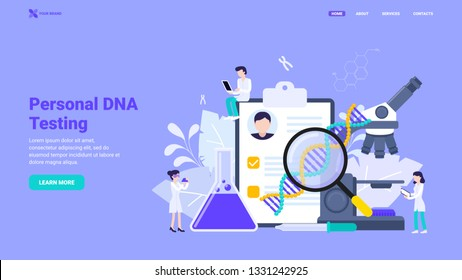 Personal DNA testing, DNA sequencing, genetic analysis design concept. Flat vector illustration with characters for landing page, hero image, web site, banner.