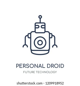 Personal droid icon. Personal droid linear symbol design from Future technology collection.