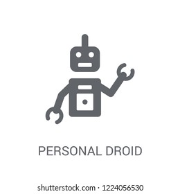 Personal droid icon. Trendy Personal droid logo concept on white background from Artificial Intelligence collection. Suitable for use on web apps, mobile apps and print media.