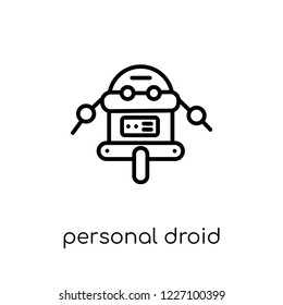 personal droid icon. Trendy modern flat linear vector personal droid icon on white background from thin line Artificial Intelligence, Future Technology collection, outline vector illustration