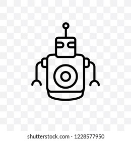 Personal droid vector linear icon isolated on transparent background, Personal droid transparency concept can be used for web and mobile