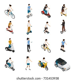 Personal eco friendly transportation isometric set with people riding electric scooter and car bicycle skateboard segway roller segwheel isolated vector illustration