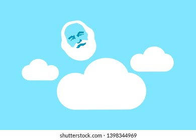 Personal existence of God - supernatural transcendent old white-bearded man is on cloud on sky. Naive personification of religious transcendence. Vector illustration