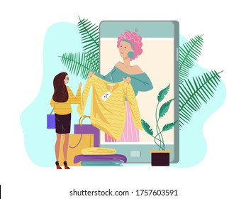Personal fashion stylist online, vector illustration. Fashion consultant service in large smartphone, woman character design clients wardrobe. Professional shopper help to choose stylish clothes.