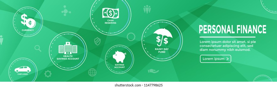 Personal Finance Web Header Banner w/ Rainy Day fund, cash reserves, savings account, hsa, and mortgage loan icon set