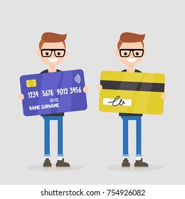 Personal finances. Bank account. Young character holding a plastic card: front and back sides. Wireless transaction. Contactless payment. Flat editable vector illustration, clip art