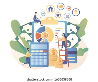 Personal financial control. Budget management. Financial literacy. Cash flow. Tiny people is planning the personal budget. Modern flat cartoon style. Vector illustration on white background