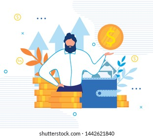Personal Financial Target Metaphor Cartoon. Office Businessman Stand on Coin Pile Showing Gold Dollar. Wallet with Cash Banknote. Loan Offer, Bank Investments or Refinancing. Vector Flat Illustration