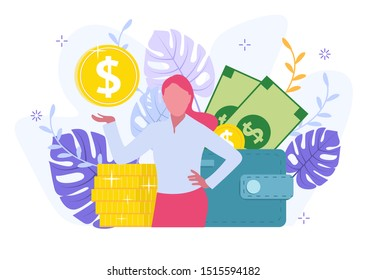 Personal Financial Target Metaphor Cartoon. Office Businesswoman Stand on Coin Pile Showing Gold Dollar. Wallet with Cash Banknote. Loan Offer.Vector Flat Illustration