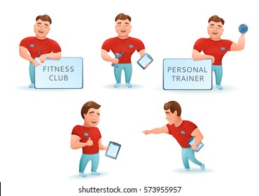 Personal fitness trainer set. Cartoon characters. Vector illustration.