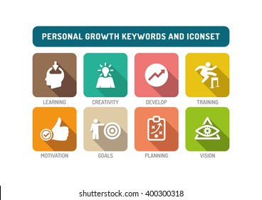 Personal Growth Flat Icon Set