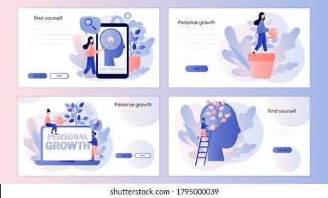 Personal growth, self-improvement, self development. Screen template for mobile smart phone, landing page, template, ui, web, mobile app, poster, banner, flyer. Modern flat cartoon style. Vector