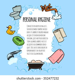 Personal Hygiene Banner. Cartoon illustration