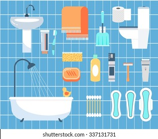 Personal hygiene flat vector icons set. Ear stick, razor and brush, napkin and bathroom illustration