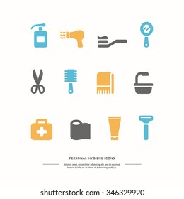 Personal hygiene icons. Vector graphics. Objects of personal hygiene.
