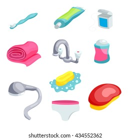 Personal hygiene items. Care and clean, bathroom object, vector illustration