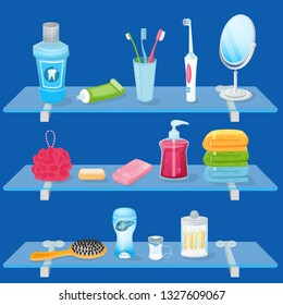 Personal hygiene supplies. Vector cartoon illustration. Bathroom glass shelves with soap, toothbrush, toothpaste and hand towels. Sanitary and care icons and design elements.