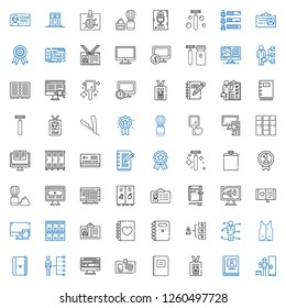personal icons set. Collection of personal with locker, biography, id card, notebook, computer, skills, vest, diary, lockers, shaving brush. Editable and scalable personal icons.