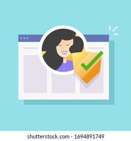 Personal id data secure protection online or profile account digital data security check vector flat cartoon icon, concept of electronic website identification or authorisation safety technology