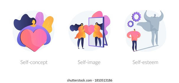 Personal image abstract concept vector illustration set. Self-concept, self-image and esteem, social role, individual psychology, confidence, positive self-perception, portrait abstract metaphor.