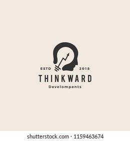 personal improvement stats arrow think bulb human idea logo hipster vintage vector