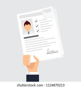 Personal info data icon vector illustration  flat style of user or profile card details in reviewer hand, account idea, identity document or cv with person photo and text clipart design