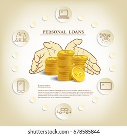 Personal loans illustration with coins and hands. Vector consumer credit marketing template.