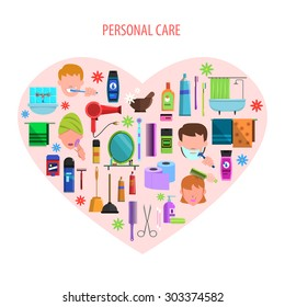 Personal morning care products set for romantic valentine day in heart form poster flat abstract  vector illustration