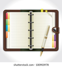 Personal Organizer with Pen. vector illustration