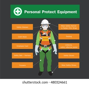Personal Protect Equipment, construction vector